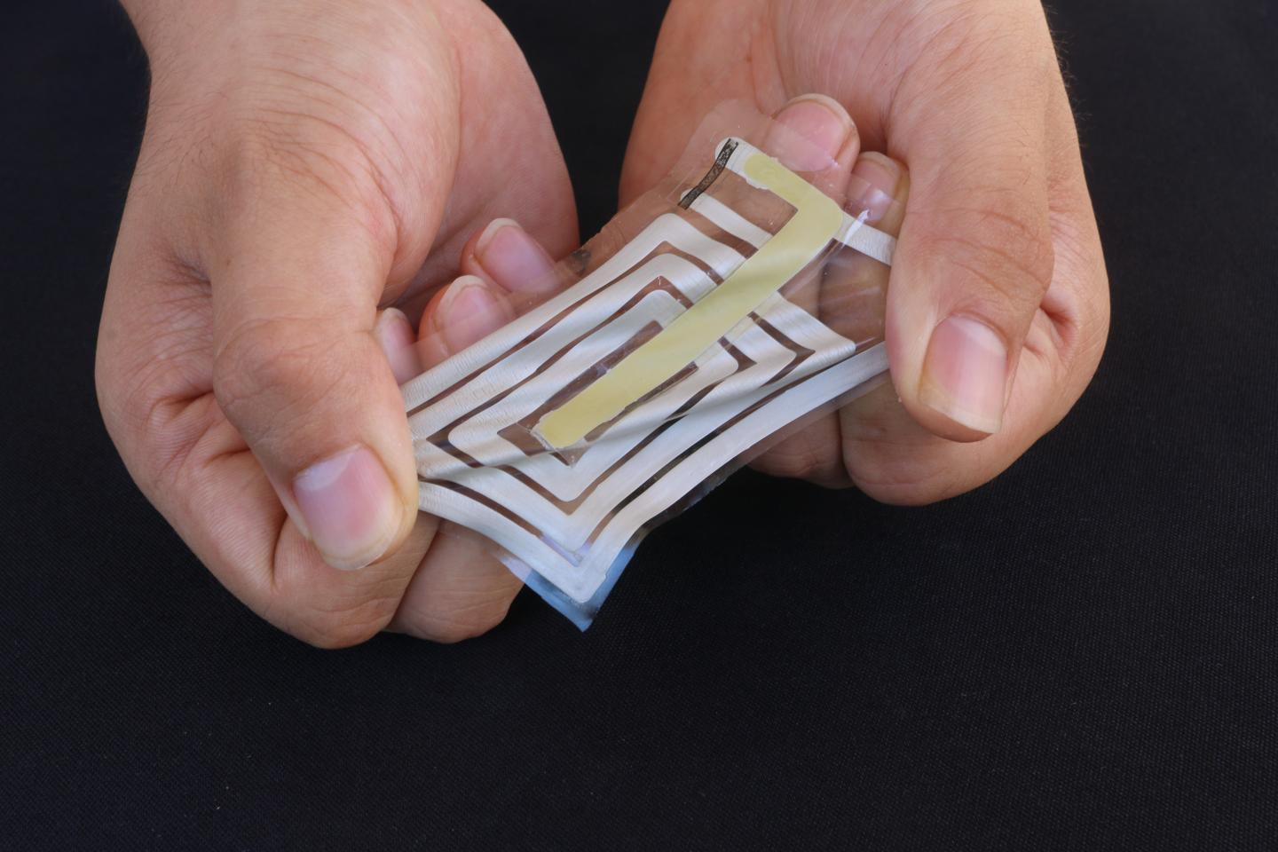 One of the stretchable, flexible, skin-adhered BodyNet sensors