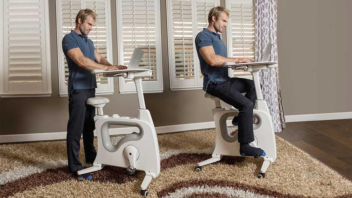 TheDeskcise Pro can be used as a standing desk or a cycle desk