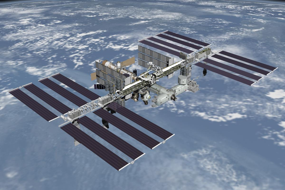 The International Space Station awaiting repair of a coolant leak