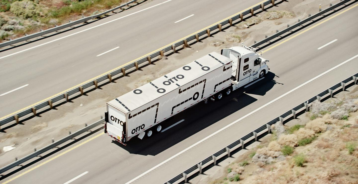 The self-driving kit is designed to be retrofitted on normal, manually driven trucks