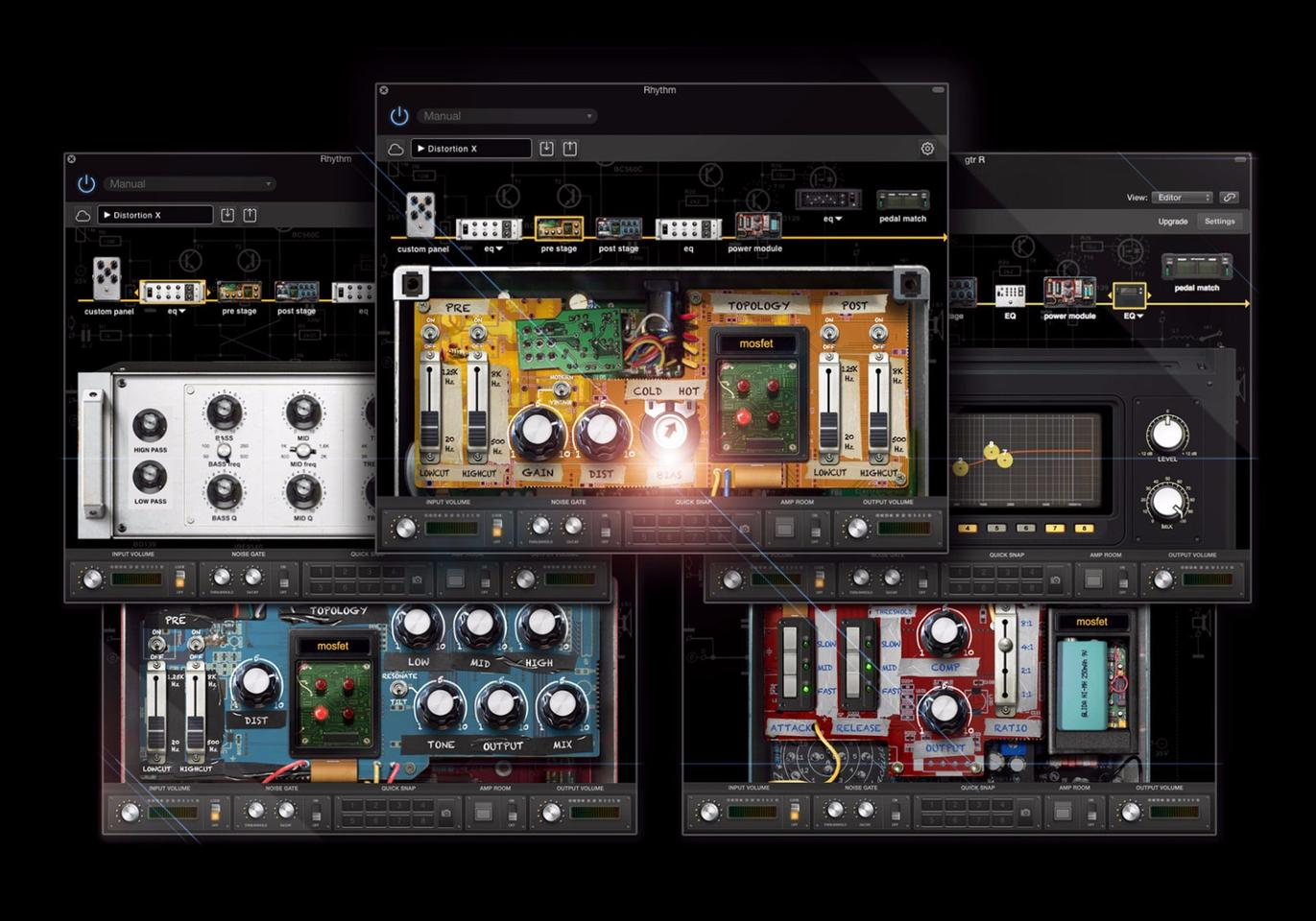 The BIASDistortion pedal works with Positive Grid's virtual pedal creation software, allowing users to design their own circuits from scratch, dive in and tweak provided or downloaded designs or tone match real world fuzz boxes