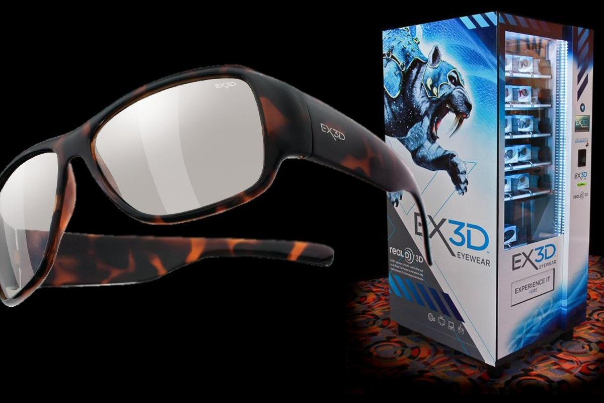 Passive 3D eyewear specialist EX3D has installed the first in-theater, self-service vending machines which stock a range of 3D glasses featuring circular lens technology