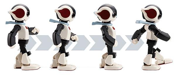 "Robi walks using patented ""SHIN-WALK"" technology developed by Tomotaka Takahashi"