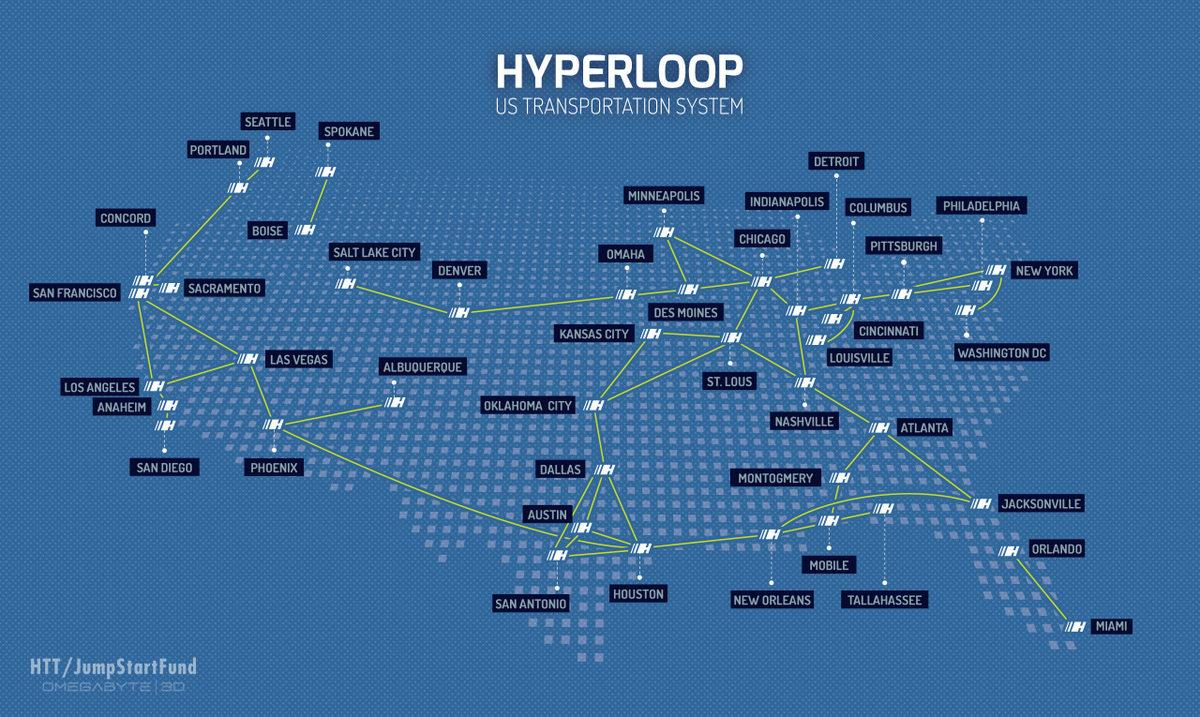 HTT's proposed Hyperloop routes throughout the US