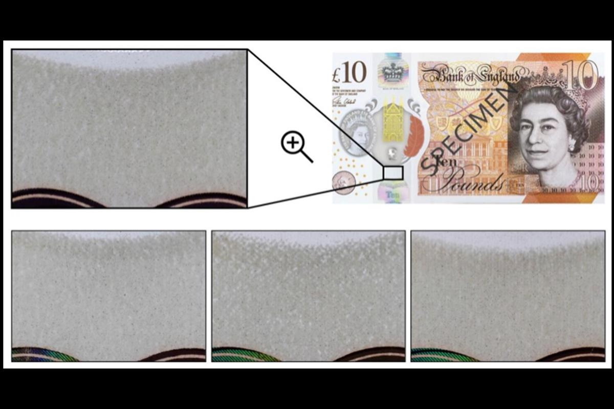 A demonstration of the feature area from a £10 polymer banknote (top) – three snapshots at the bottom show the random variation of the patterns for three different £10 banknotes
