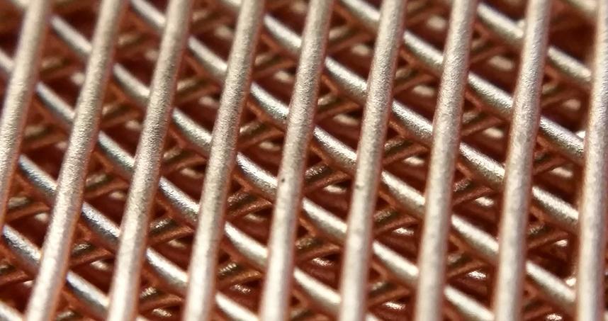 A copper lattice structure created using the new process