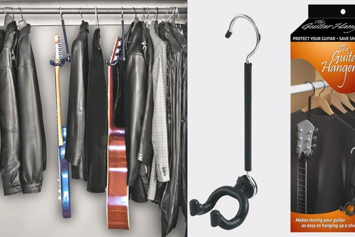 The Guitar Hanger hooks over any closet or rack rod to provide temporary, safe storage for almost any guitar