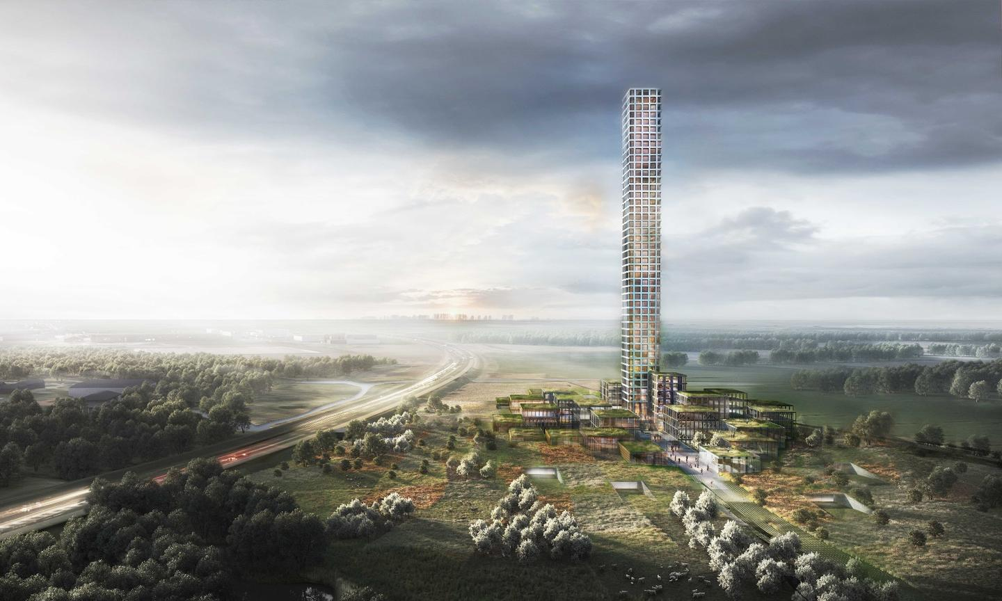 Assuming it goes ahead, the Tower & Village skyscraper will rise to a height of 320 m (1,050 ft)