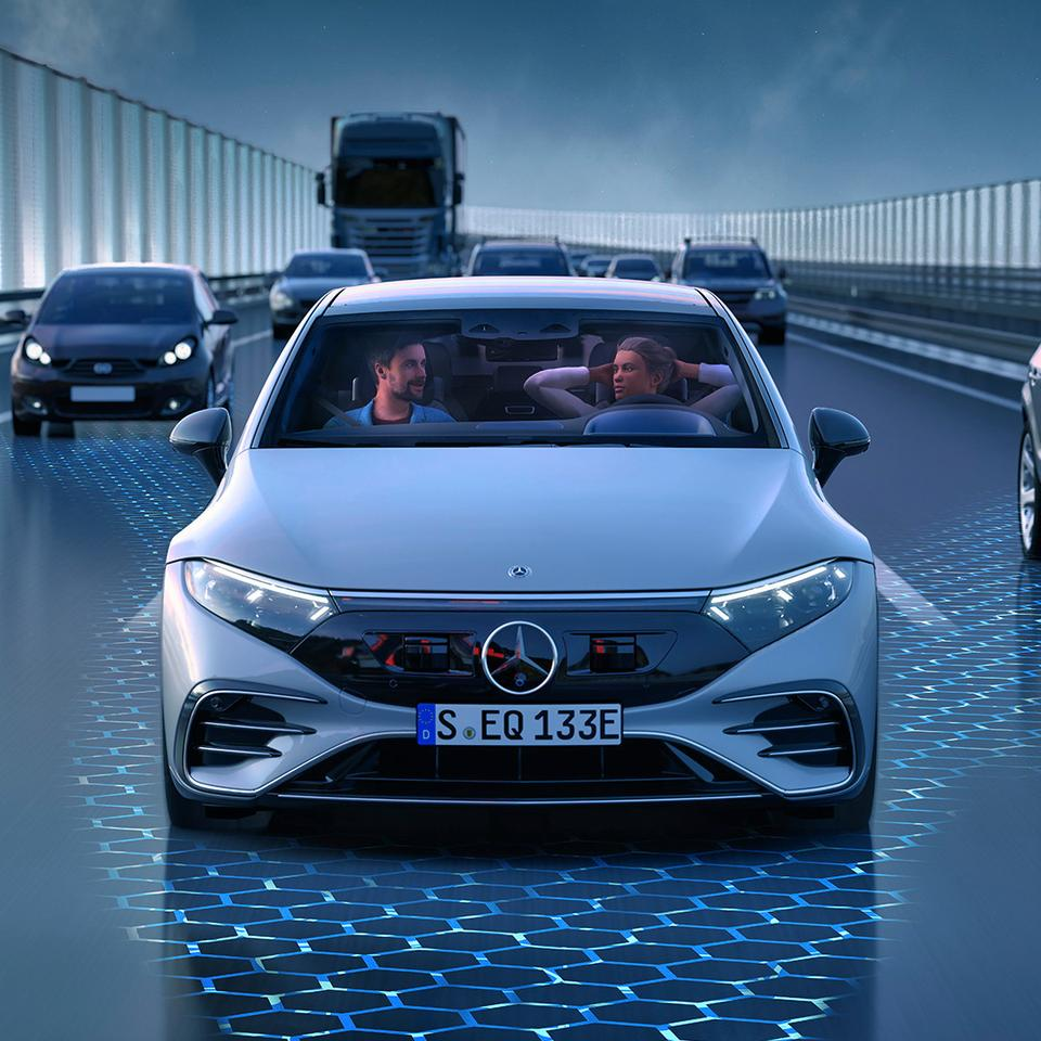 With up to 350 sensors, the EQS is ready for automated driving tasks now and will gain additional features in the future