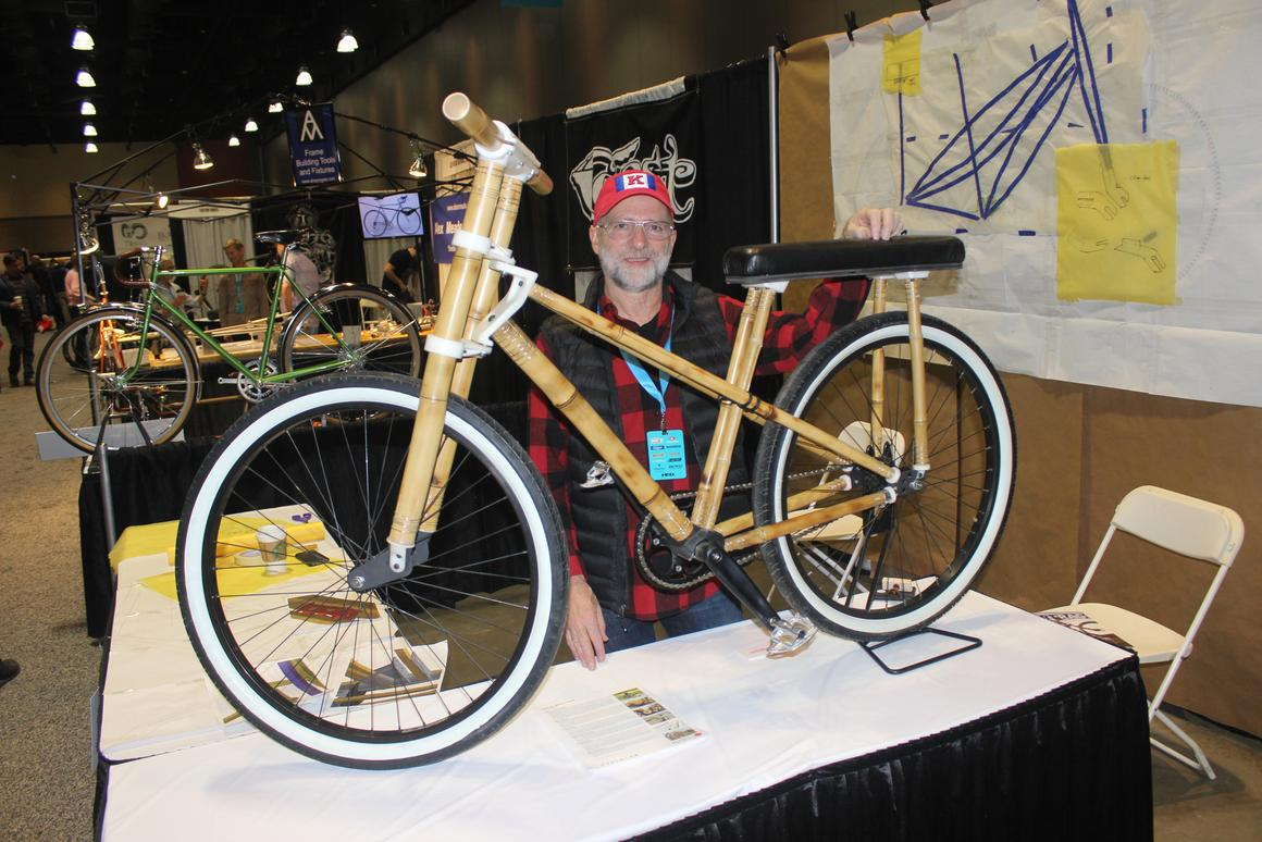 Lance Rake with his bamboo bike at NAHBS 2018