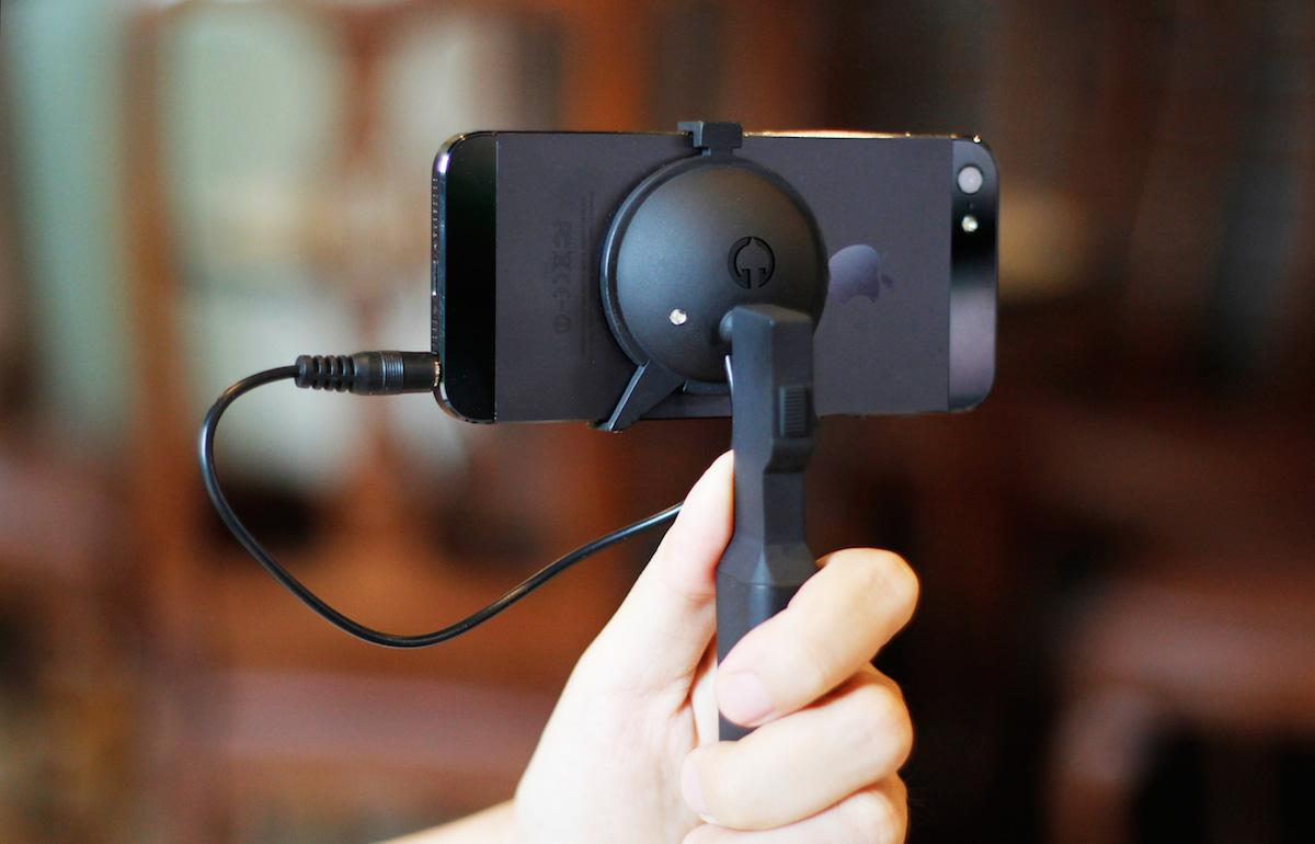The Elephant Steady utilizes the iPhone's gyroscope and processor as its brains