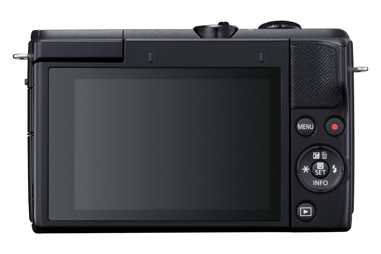 The EOS M200 features a 3-inch flip-up touchscreen LCD panel