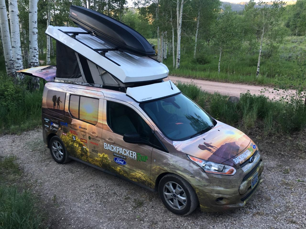 "Backpacker magazine used an Ursa Minor pop-top Ford Transit Connect for its annual ""Get Out More Tour"" earlier this year"