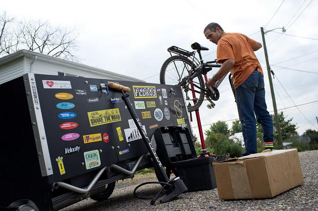 Wyse Cycles is a self-propelled mobile bicycle repair service, which bike mechanic Ben Wyse pedals around the city of Harrisonburg, Virginia (Photo: Jeff James)