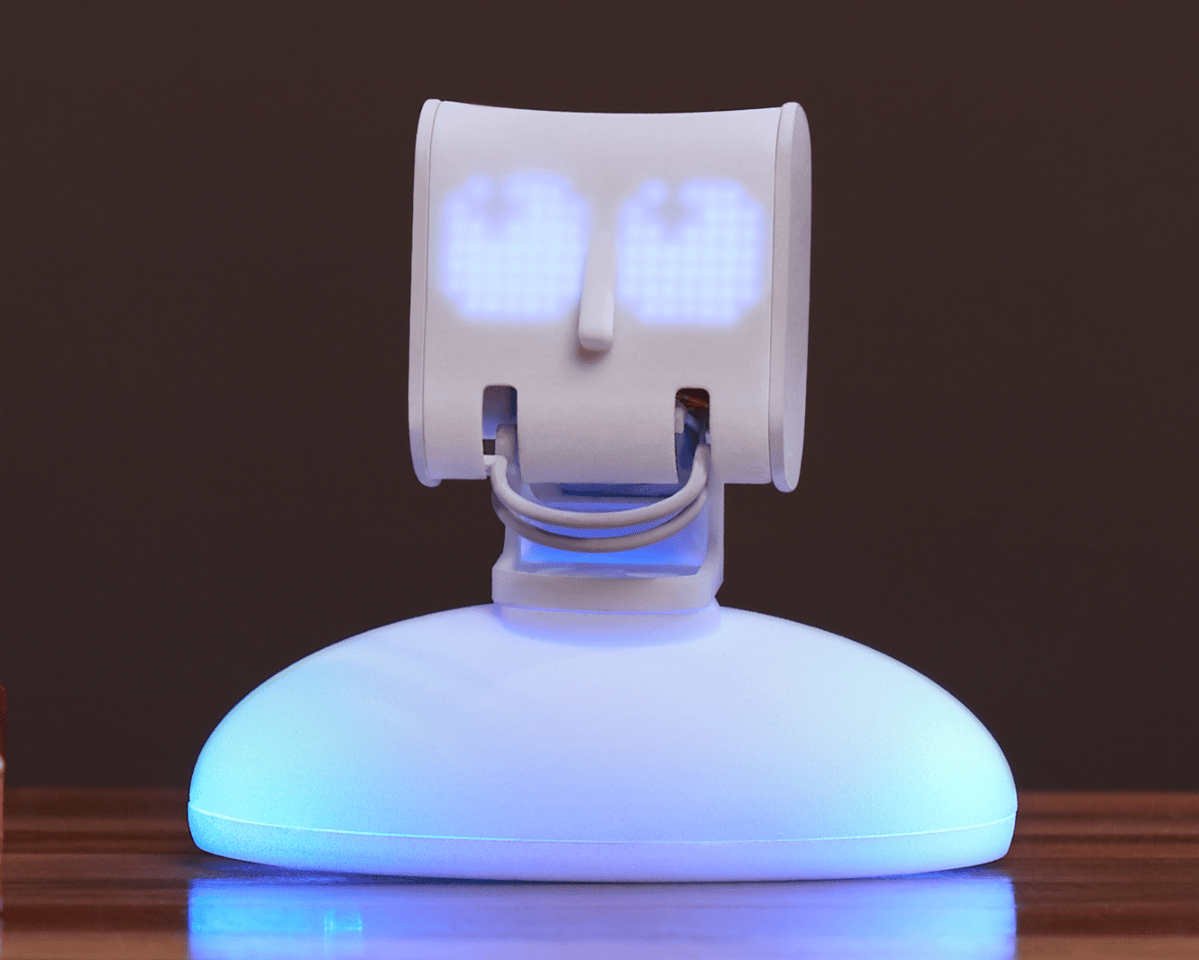 "Picoh stands 4 in (10 cm) tall, his nose is a touch sensor and his motorized ""lips"" can move in time to sounds"