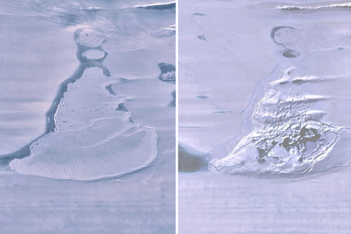 Landsat 8 images show the Antarctic ice lake before (left) and after it drained
