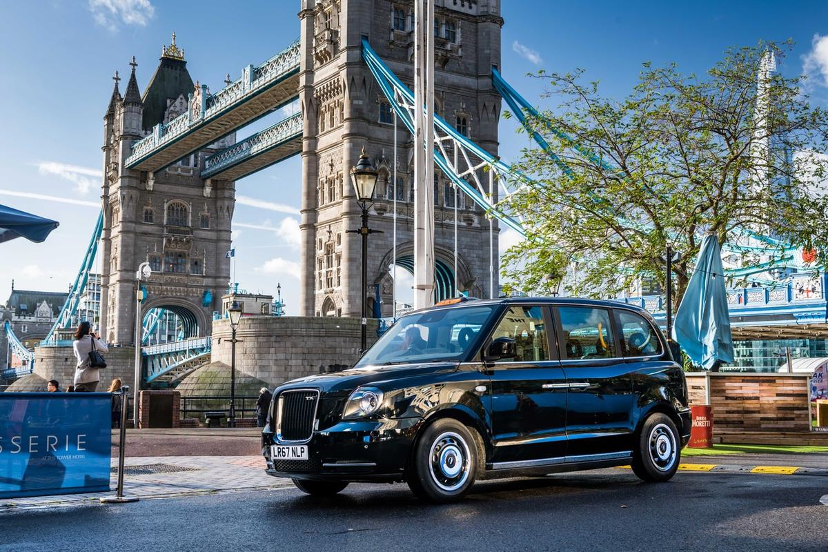 The TX eCity taxi has an all-electric range of 80 miles per charge