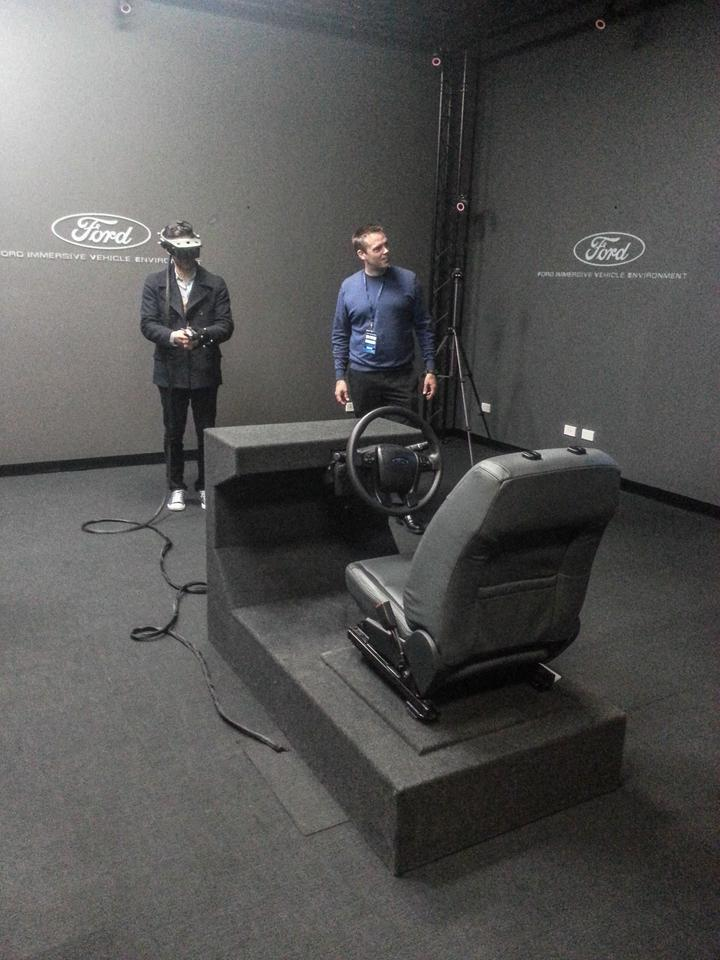 Ford Immersive Vehicle Environment: bare test rig allows users to sit inside virtual cars