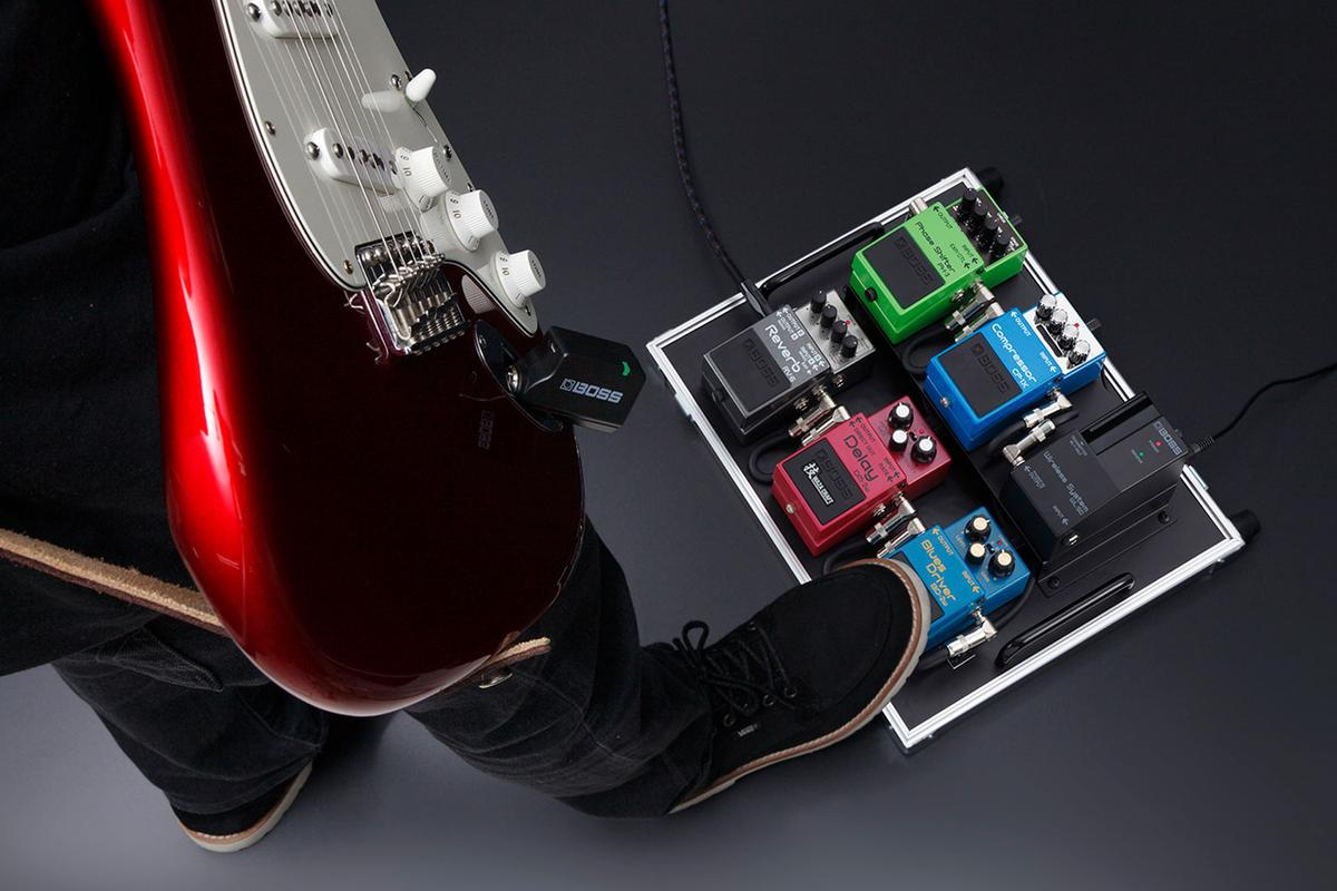 The Boss WL Series includes a pedalboard receiver dock for inclusion in a stomp chain, and connecting wirelessly using a transmitter plugged into a guitar