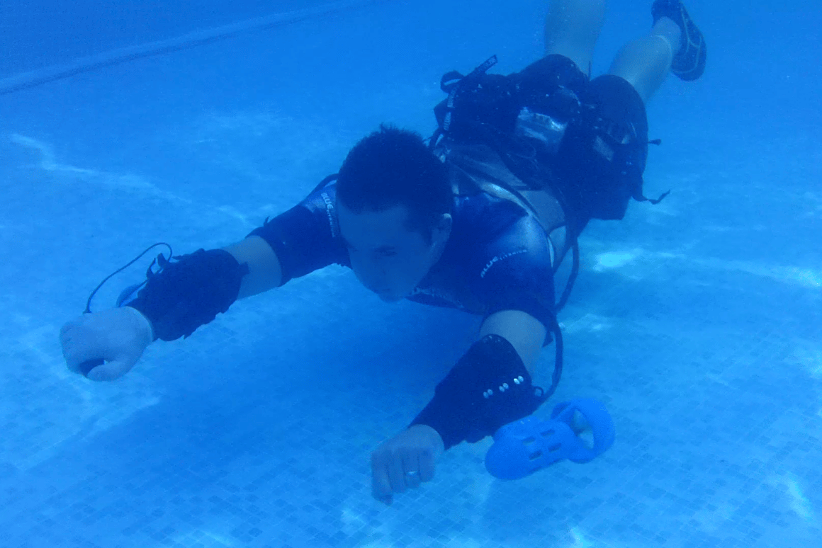 The Underwater Jet Pack is designed to let users perform underwater acrobatics using forearm thrusters