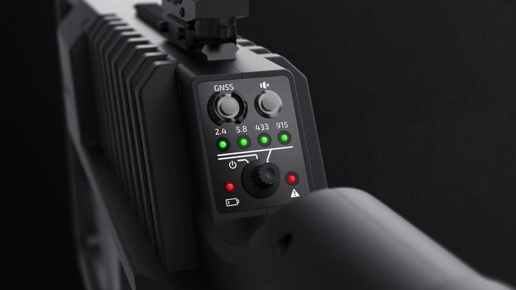 The DroneGun Tactical's control panel, which allows users to target different frequencies