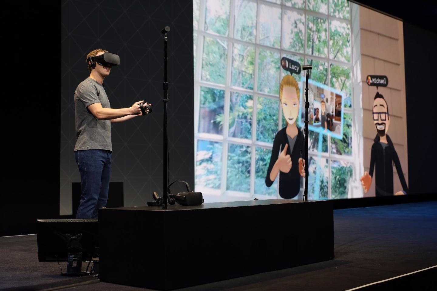 Facebook CEO Mark Zuckerberg performs a live VR demo at Oculus Connect 2016