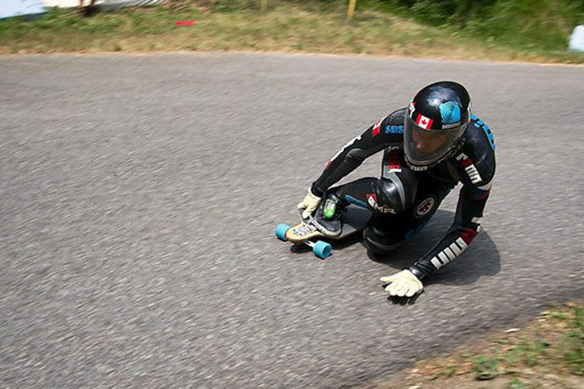 Mischo Erban has set a Guinness world record downhill skateboarding speed of 80.74 mph (129.94 km/h) (Photo: Alexia Marcus)