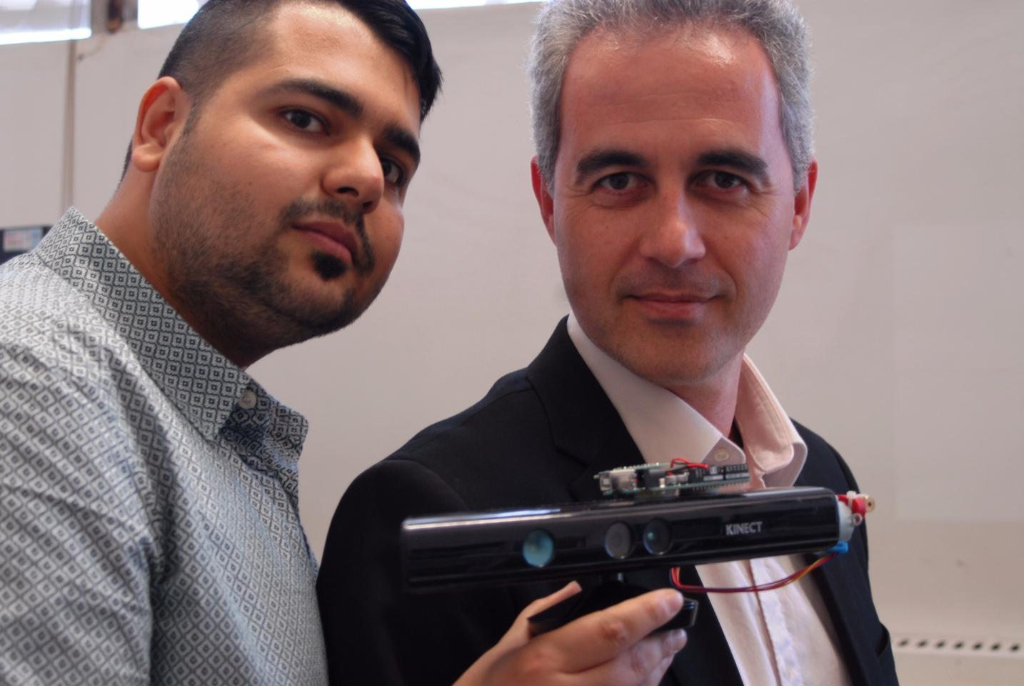 Amin Amini Maghsoud Bigy and Dr Konstantinos Banitsas with the Kinect modified to help Parkinson's patients overcome Freezing of Gait