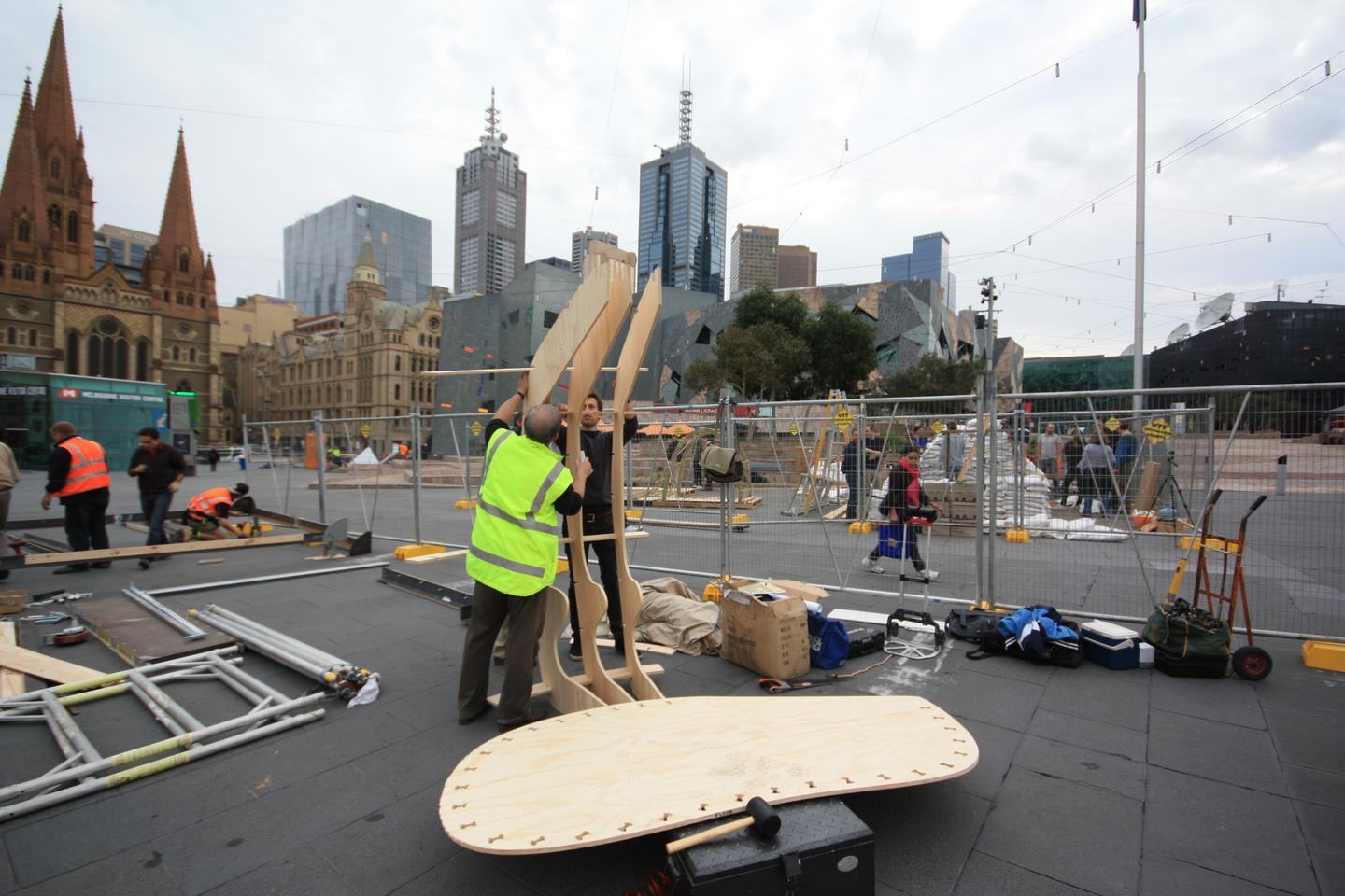The emergency shelter was unveiled at Melbourne's Emergency Shelter Exhibition