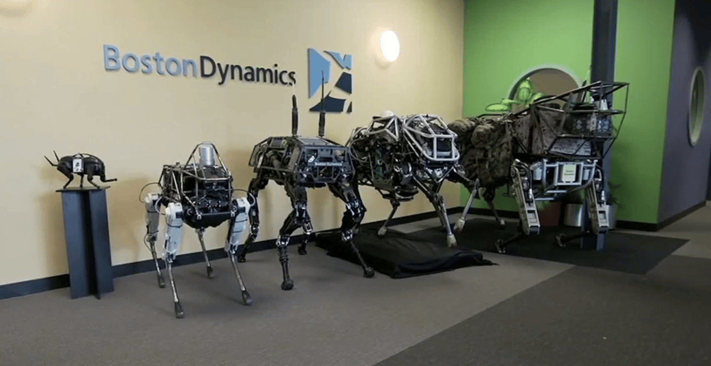 Spot on parade with other Boston Dynamics robots