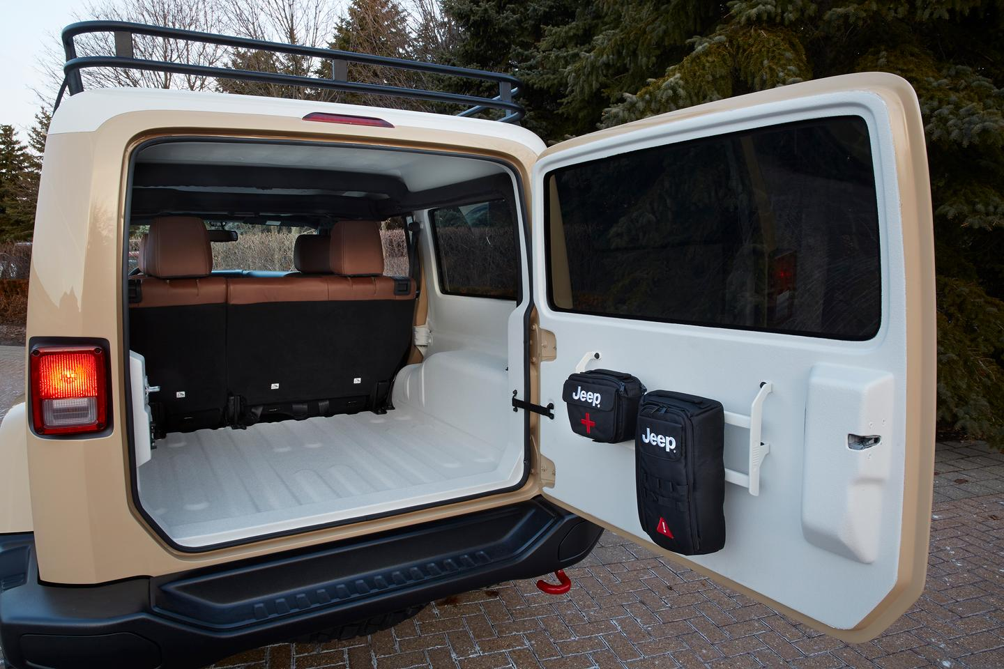 The Wrangler Africa has a spray-in truck bed coating in the cargo area, inner roof and floor