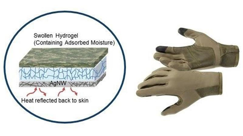 High-tech fabric intended for gloves and other military clothing contains silver nanowires that could be heated to keep soldiers warm, while a hydrogel layer would absorb sweat