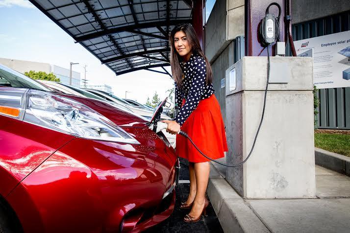 Customer charging up an electric vehicle as part of SDG&E's pilot program