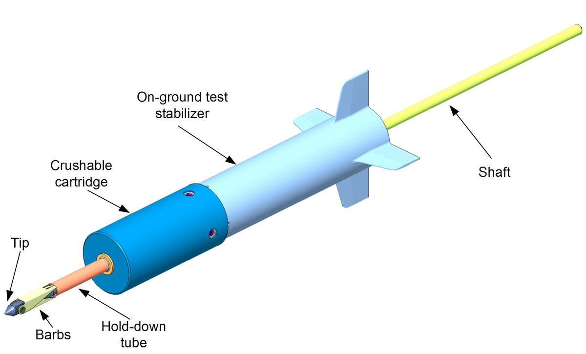 Airbus Defence and Space's preliminary design for a space harpoon system (Image: Airbus Defence and Space)