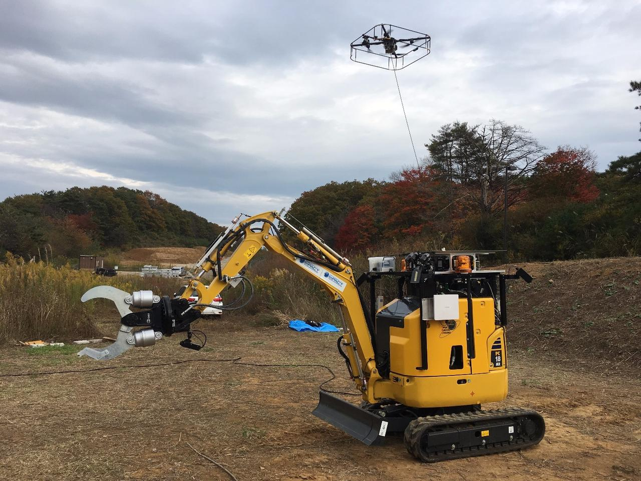 Situational awareness is a big factor at disaster sites, so the machine is also equipped with a remote-control camera-toting tethered quadcopter drone