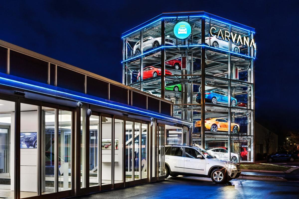 Carvana's giant vending machine for used cars in Nashville, Tennessee is intended to encourage more customers to opt for pickup over delivery