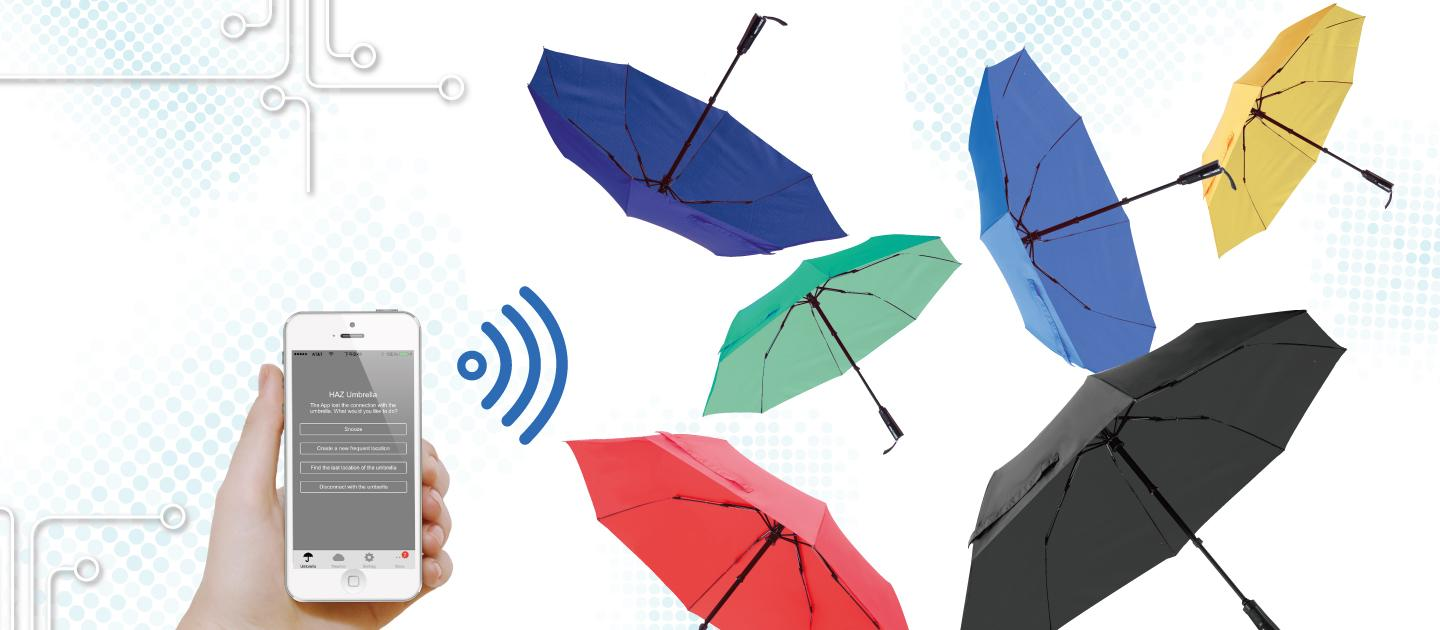 The Haz Umbrella connects to an accompanying iOS or Android app to tap into location-based weather forecasts