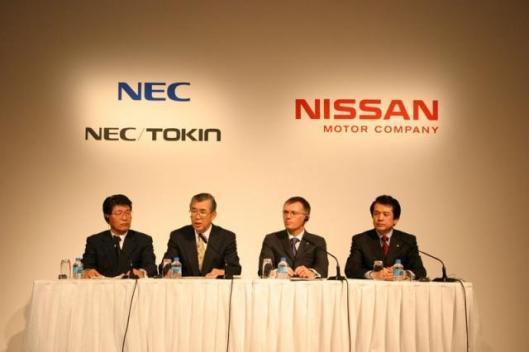 NEC TOKIN Corporation President / Takehiko Nakata, NEC Corporation Exective Vice President and Member of the Board / Konosuke Kashima, Executive Vice President / Carlos Tavares, Senior Vice President / Minoru Shinohara