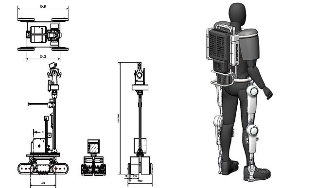 (Left) diagram of Chiba Institute of Technology's Sakura, an unmanned inspection robot (right) Cyberdyne's HAL exoskeleton outfitted with tungsten shielding and cooling system