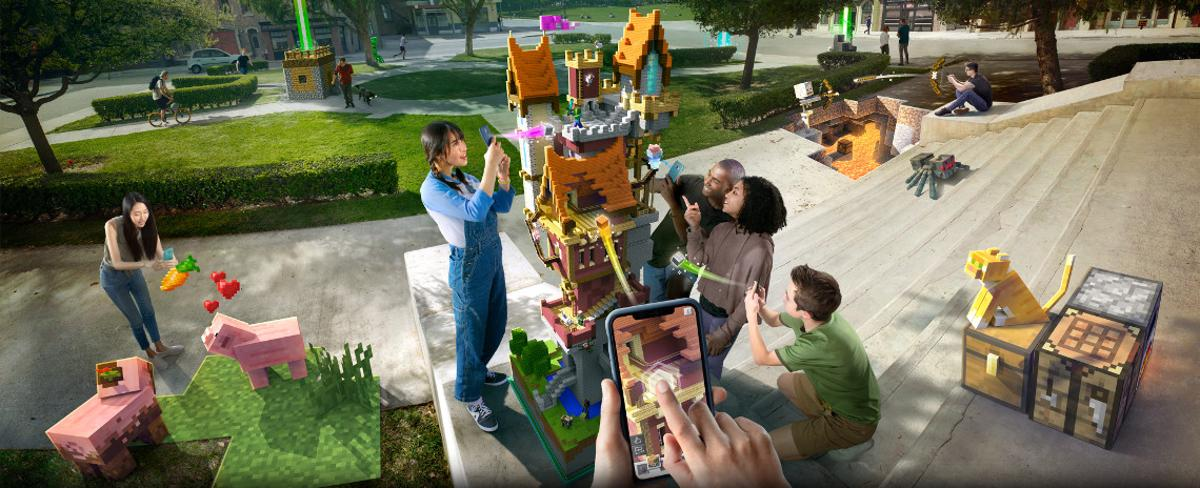 Minecraft Earth is a new augmented reality mobile game from Microsoft, which brings the blocky construction kit into the real world