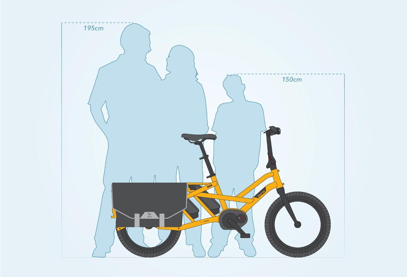 The GSD is designed to fit riders between 4.9 and 6.4 feet (150 to 195 cm) tall