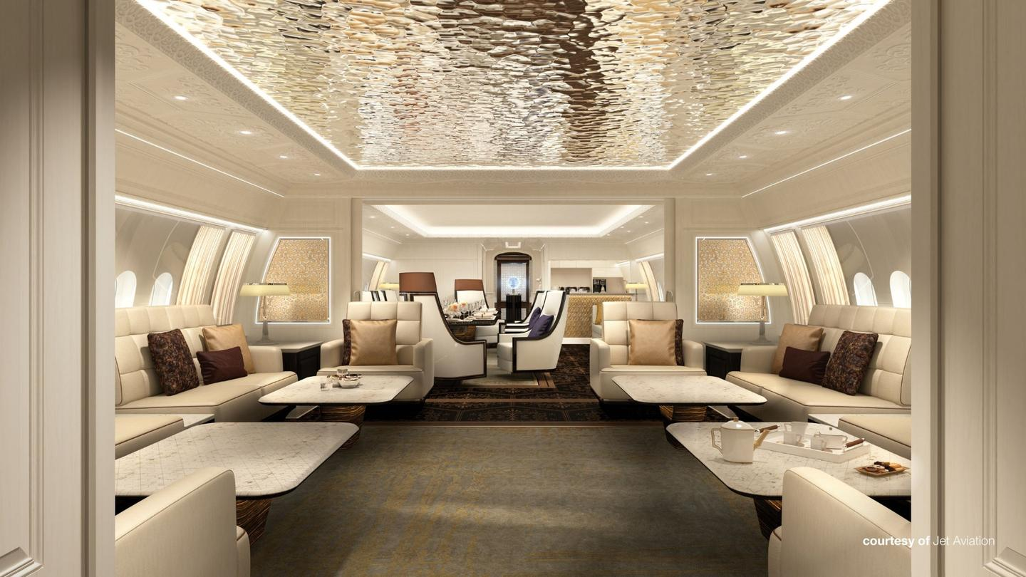 A BBJ 77X interior concept by Jet Aviation that was commissioned by Boeing