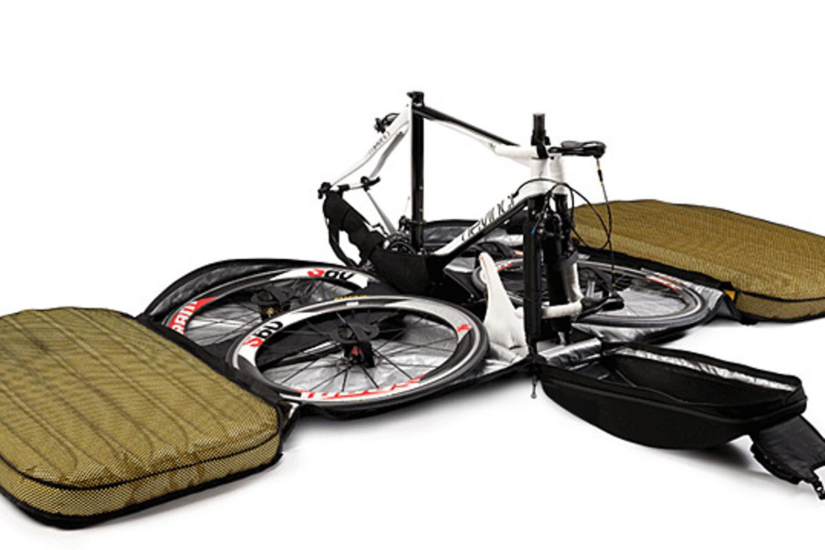 The Biknd Helium is a bicycle shipping case that uses inflatable bladders to protect one's bike