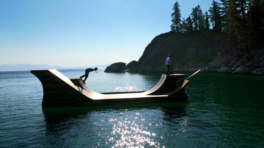 A 7,300 lb (3,311 kg) floating skateboard ramp has been installed on Lake Tahoe as part of Visit California's Dream365 tourism campaign