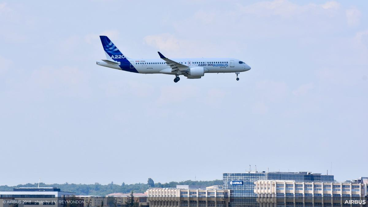 The A220-300 overToulouse