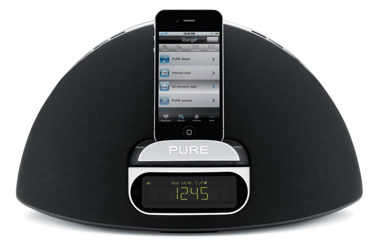 Music can be played from an iPhone or the cloud-based Pure Lounge on the Contour 100i