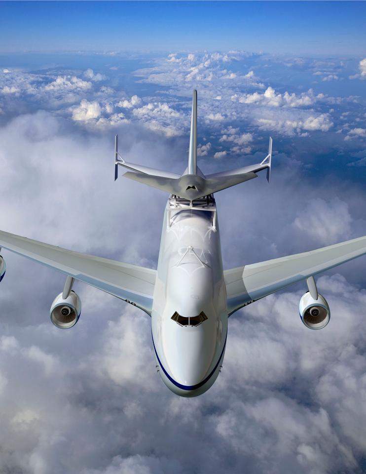 Phantom Ray atop a Boeing 747 Shuttle Carrier Aircraft