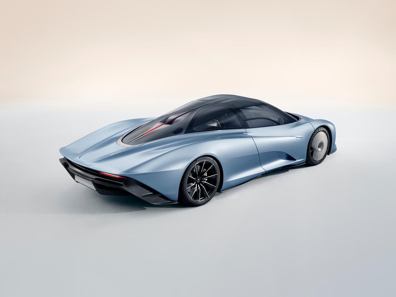 McLaren Speedtail: small engine air intakes in the rear of the cabin roof are split by a vertical LED brake light