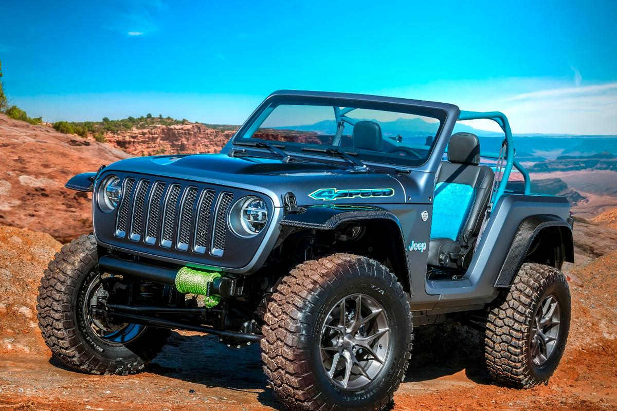 Jeep 4Speed:built for speed, but not by beefing up the engine. This is an ultra-lightweight concept