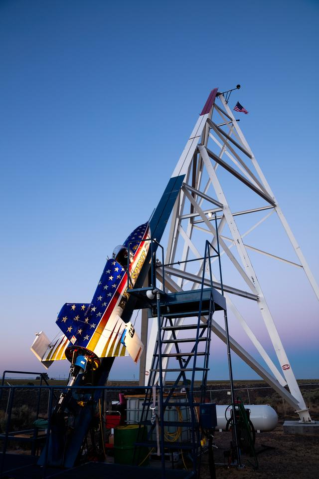 The Evel Spirit sits dormant on the launch pad before the jump